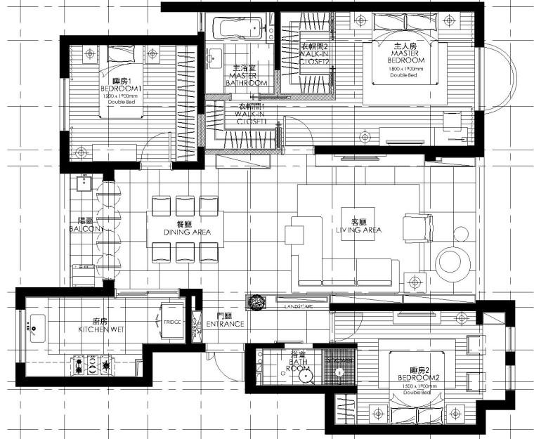 [福建]现代简约风格三室两厅室内装修施工图设计(附效果图)