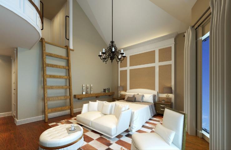 美式-复地爱伦坡别墅室内设计方案图(含效果图,施工图)-主卧室效果图