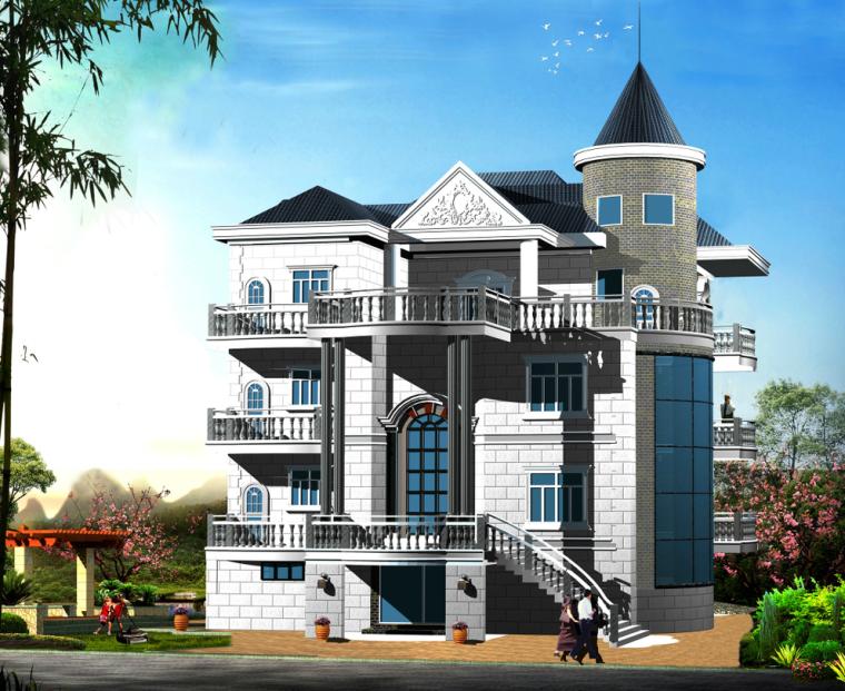 琅岐某三层带阁楼复古独栋别墅私宅设计(包含效果图+CAD)