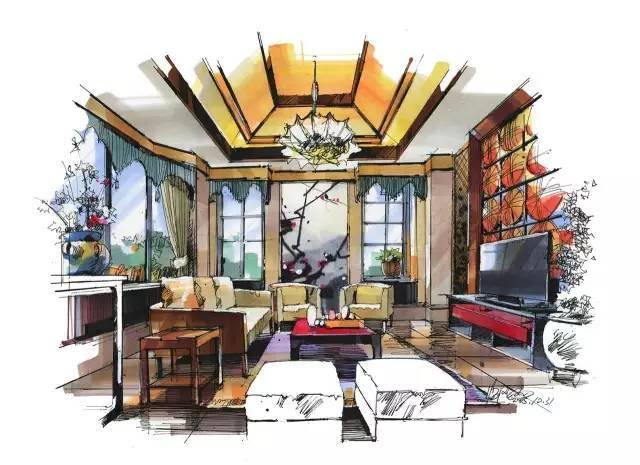 室内手绘 室内设计手绘马克笔上色快题分析图解_9