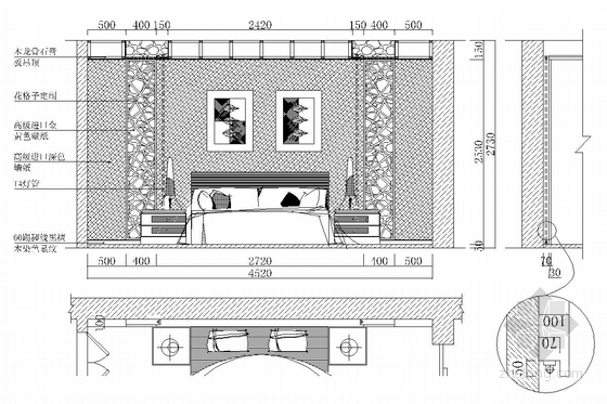 典雅中式二层别墅室内装修施工图(含效果图)主卧立面图