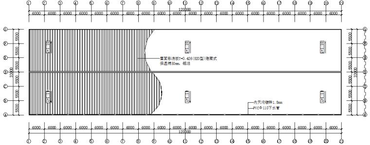 单层坡双跨厂房钢结构施工图(CAD,14张)_2