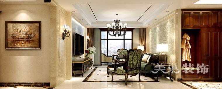 欧式古典的装饰风格资料下载-正商新蓝钻155平装修,红木家具打造的欧式新古典风