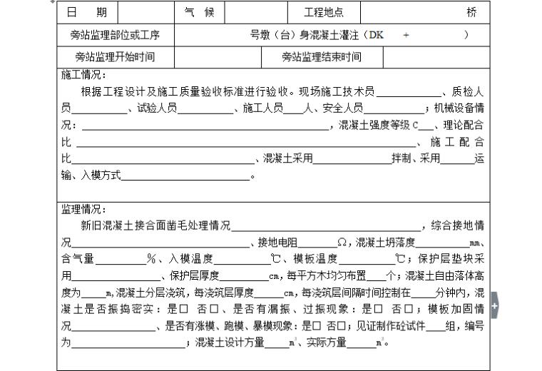 [旁站记录]墩(台)身砼灌注旁站监理记录表