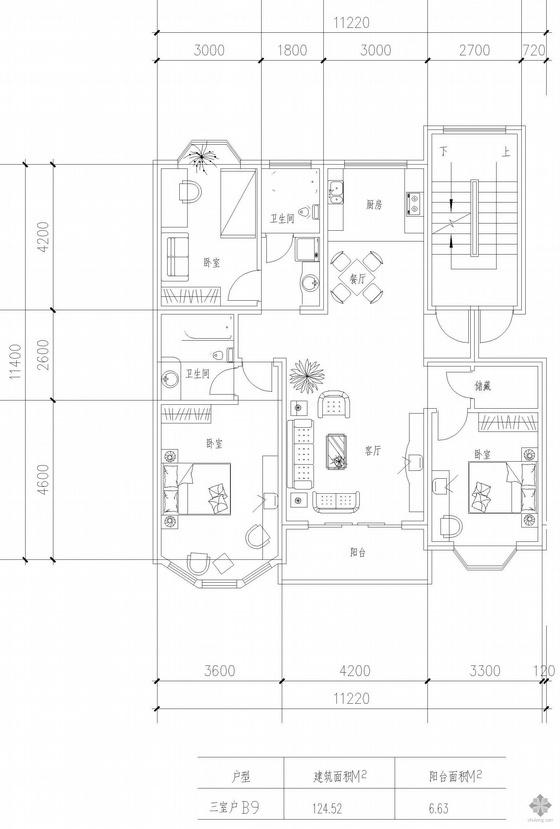 板式高层三室一厅单户户型图(125)
