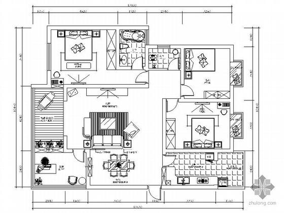 [成都]小区三户型雅居设计四居室方案Ⅱ(含效果)