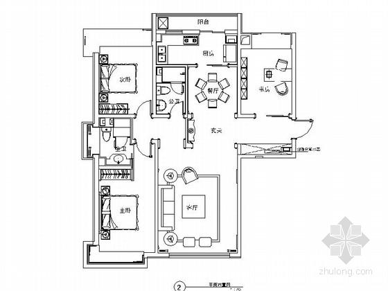 [石家庄]特色旅游城市现代四居室装修施工图