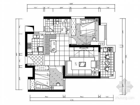 [武汉]现代风格色彩鲜明两居室装修CAD施工图(含效果图)