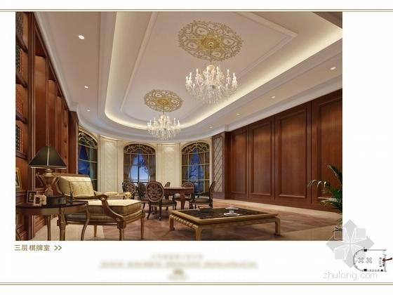 [苏州]奢华欧式风格商务会所三层健身娱乐区室内装修图(含效果) 棋牌室效果