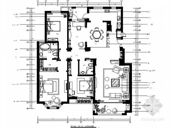 [山东]玫瑰人生高端品质样板间室内施工图(含实景照片)