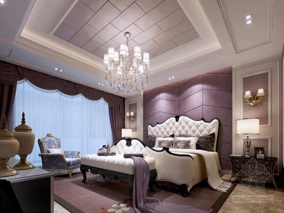[沈阳]知名地产核心区新古典风格四居室样板间设计方案主卧室效果图