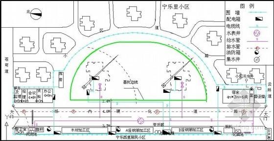 商业大厦基础施工阶段平面布置图