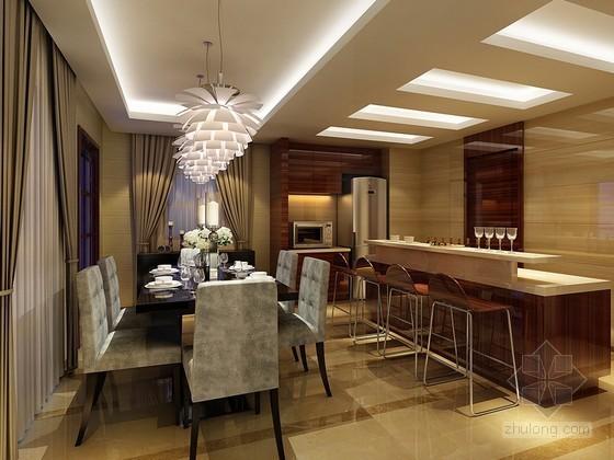 现代开放式厨房餐厅3d模型下载