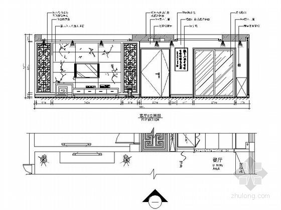 [天津]风景地产古典中式三居室装修施工图(含效果图) 立面图