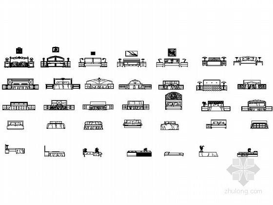 各式风格床CAD图块下载