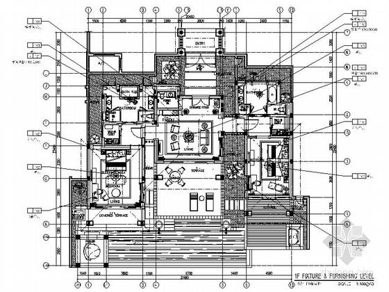 [三亚]全球连锁酒店奢华欧式双床型客房装修施工图(含效果)