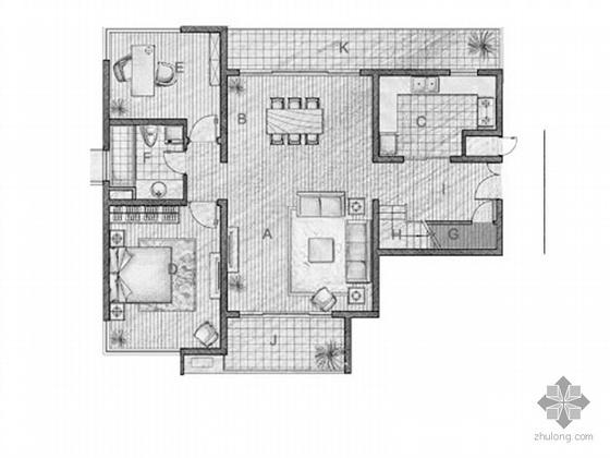 复式四室二厅户型平面图(204)