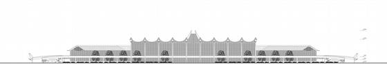 """[湖南]""""X""""型模块化钢结构机场建筑设计方案文本(含CAD及多媒体)-""""X""""型模块化钢结构机场建筑立面图"""