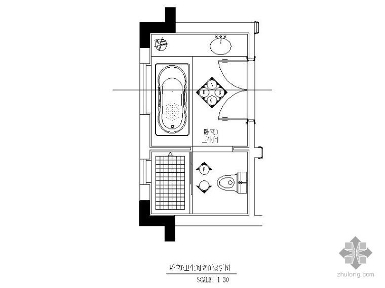 别墅卫生间装修施工图_1