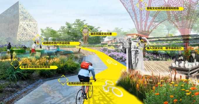 """[湖北]""""海绵城市""""汉派文化核心绿轴生态滨江商业核心区景观设计方案"""