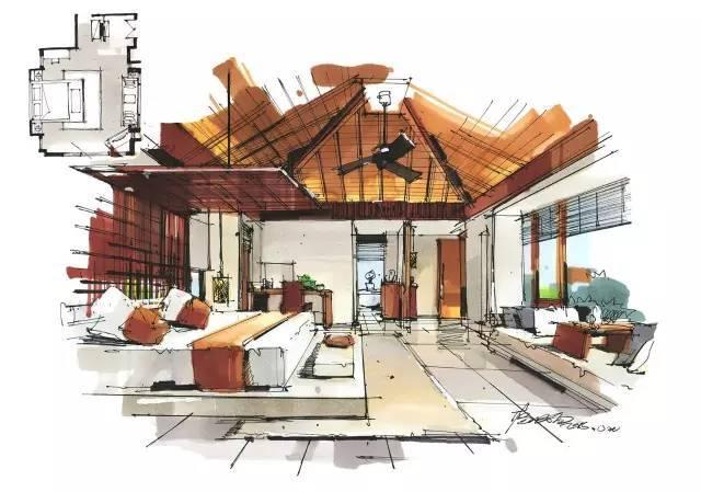 室内手绘 室内设计手绘马克笔上色快题分析图解_20