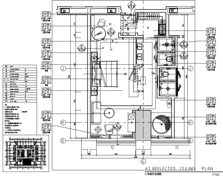 中山希尔顿酒店设计施工图(附效果图)-天花布置图