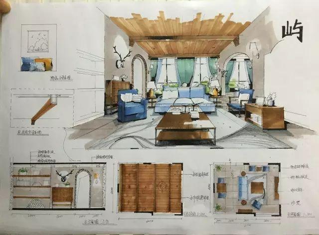 室内手绘 室内设计手绘马克笔上色快题分析图解_32