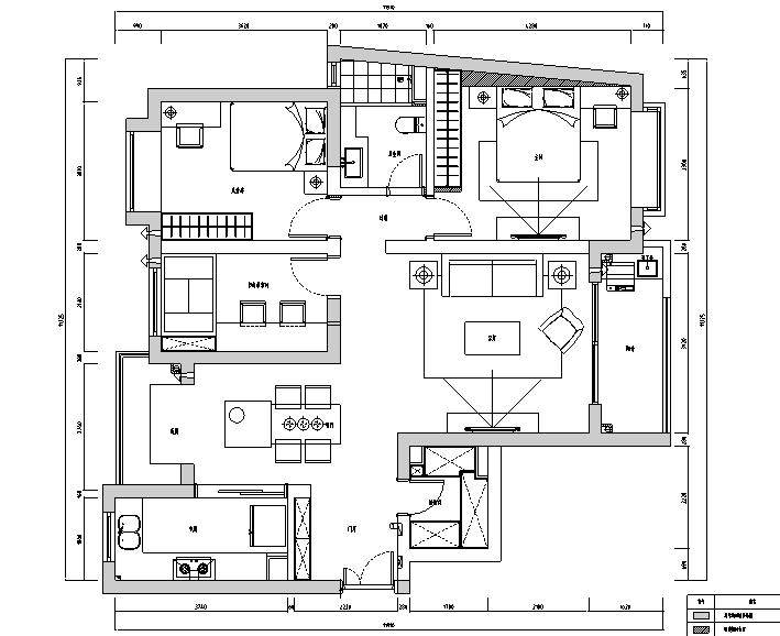 撞色|上海宏润国际花园住宅设计施工图(附效果图)