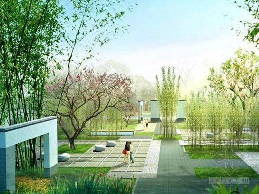 中式滨水居住区景观设计效果图