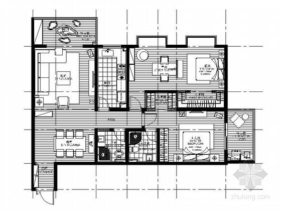 精致简约现代风格三居室样板间CAD装修施工图(含效果)