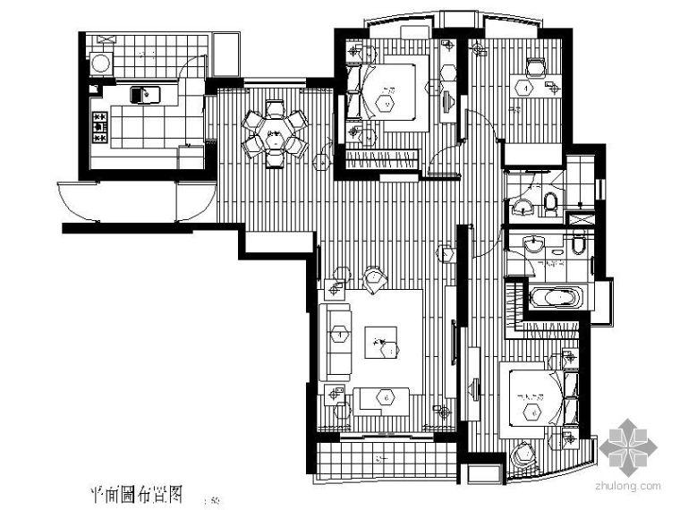 [上海]三室两厅样板房施工图
