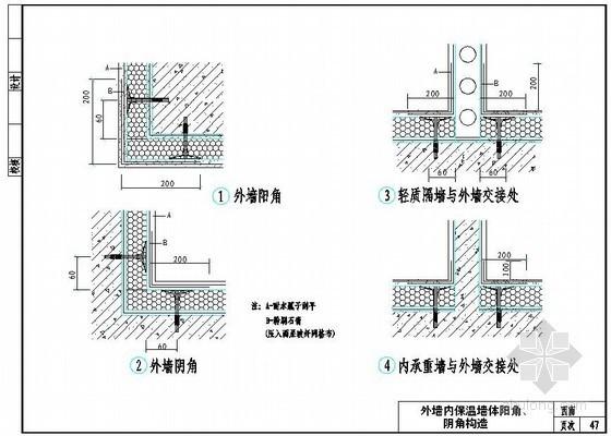 外墙内保温墙体阴阳角构造图(挤塑聚苯板)
