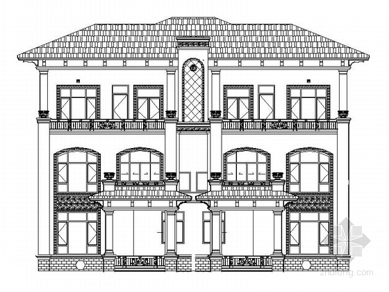 [江西]某三层双拼别墅建筑施工图