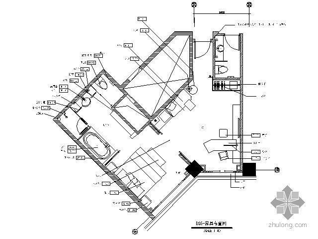 酒店标准客房施工图(平面)