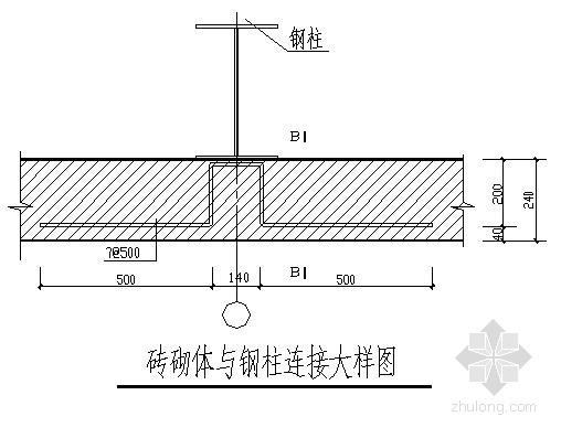 钢柱与维护墙拉结节点详图