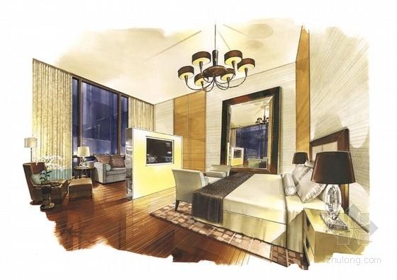 [广东]全球连锁豪华欧式风格商务酒店设计方案卧室效果图