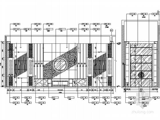 [苏州]环抱独墅湖水天一色苏式恬静会议酒店设计施工图(含方案及实景)多功能前厅立面图