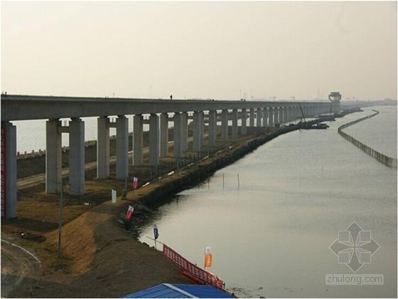 高铁特大桥施工及质量情况介绍2013鲁班奖申报(跨湖区水保施工 钢管拱整体滑移)