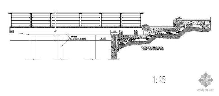 阶梯步道尽端木码头施工大样图
