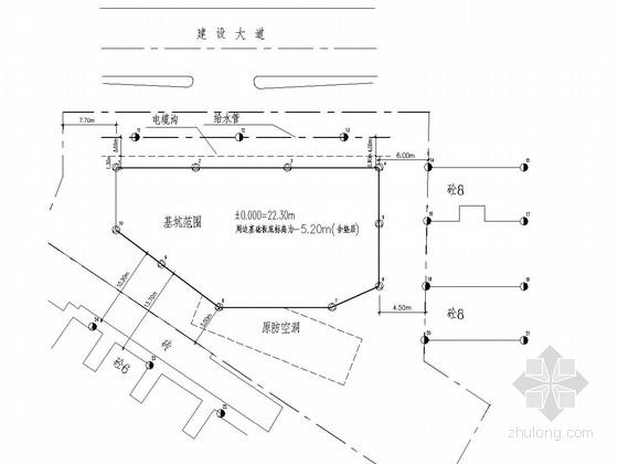 [湖北]深基坑粉喷桩挡墙加锚喷支护施工图