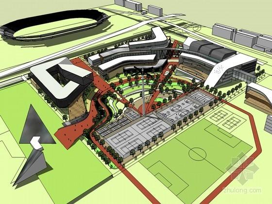 时尚办公建筑SketchUp模型下载-时尚办公建筑
