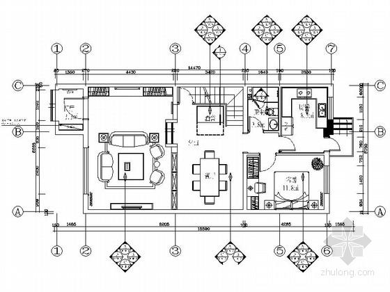 [河北]花园洋房简欧风格三层别墅室内装修施工图(含方案)