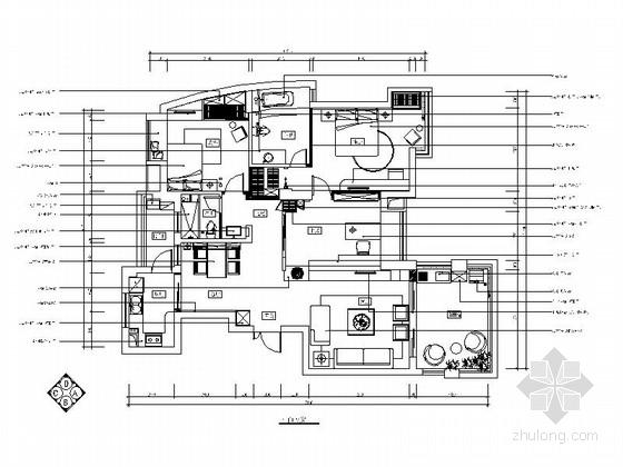 清新简约地中海三居室样板房装修施工图(含效果)