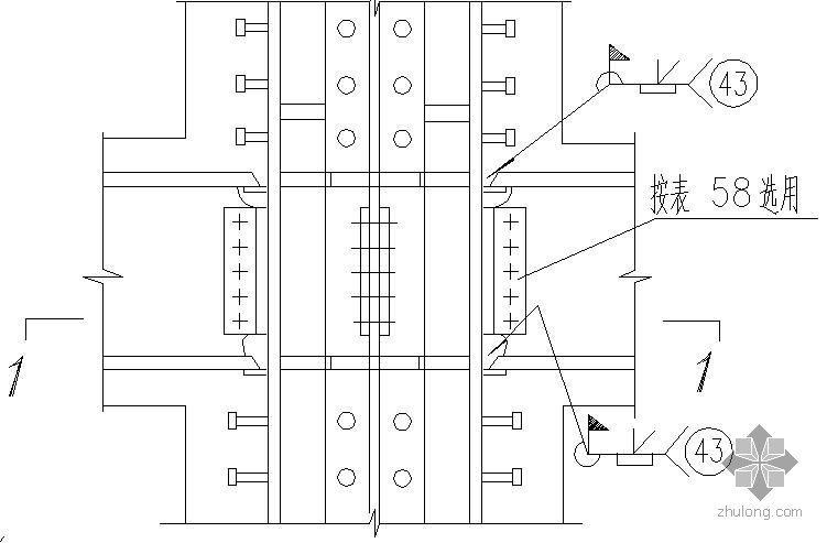 某在钢骨混凝土结构中梁与十字形截面柱的刚性连接节点构造详图