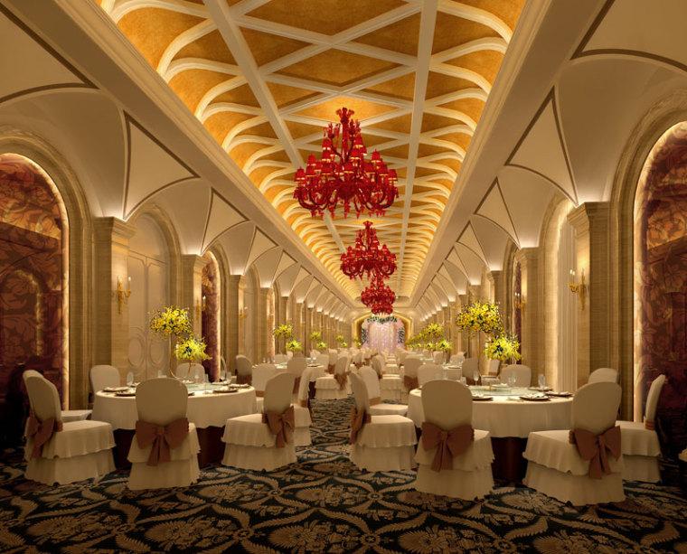 红子鸡餐厅装修设计案例分享[粤保装饰]-宴会厅二.jpg