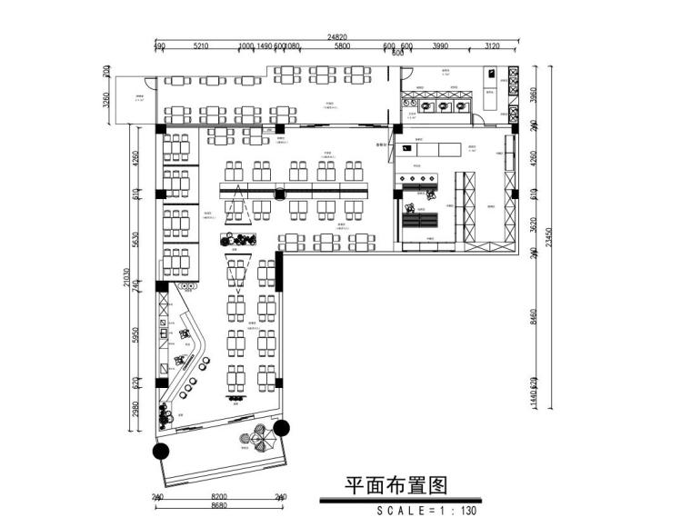 [广州]汇鸿商业广场一楼李不管把把烧烤店装修图纸(300㎡+民族风+苏勒墨)?