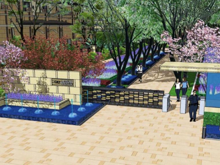 [重庆]龙湖听蓝湾居住区景观方案设计(现代法式,方案+实景图)