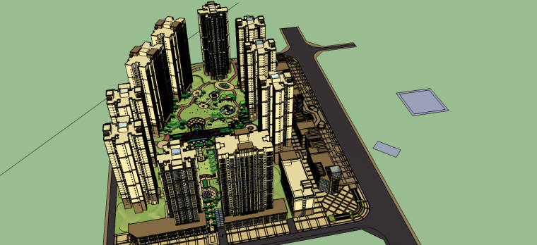 法式居住区景观su模型