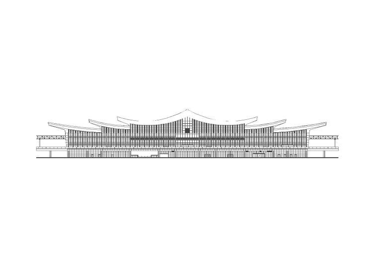 [湖南]三层古典风格市级中型火车站建筑施工图