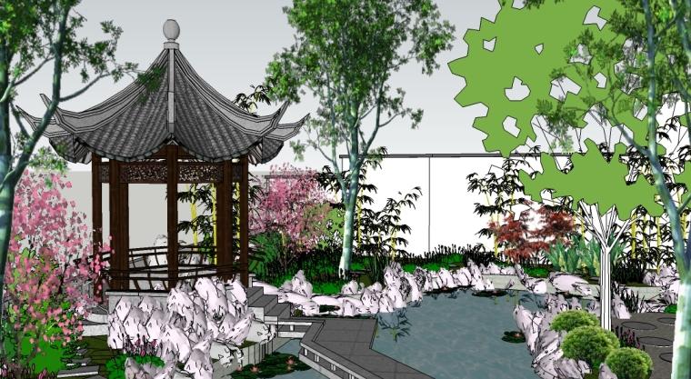 别墅中式私家花园景观SU模型